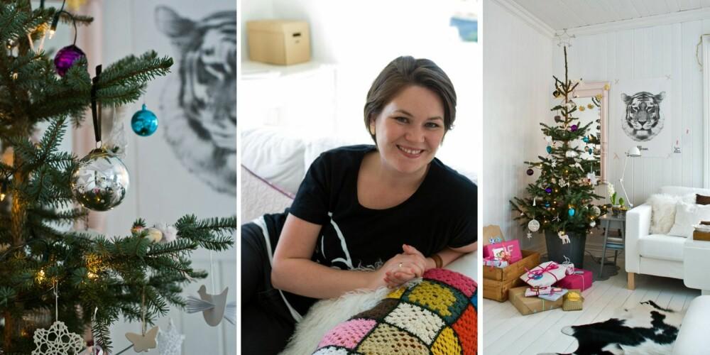 Ingrid Aune Westrum driver bloggen Fjeldborg. Her ser du hennes lekre julepyntede hjem med en miks av friske blomster, stjerner, gamle julekuler, gull og glitter.