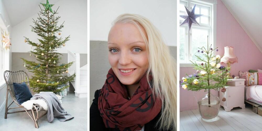 Amalie Fagerli blogger og bor på Svennegården i Eidsvik utenfor Ålesund. Hun pynter helst med farger, og varierer ved å sette sammen julepynten ulikt fra år til år.