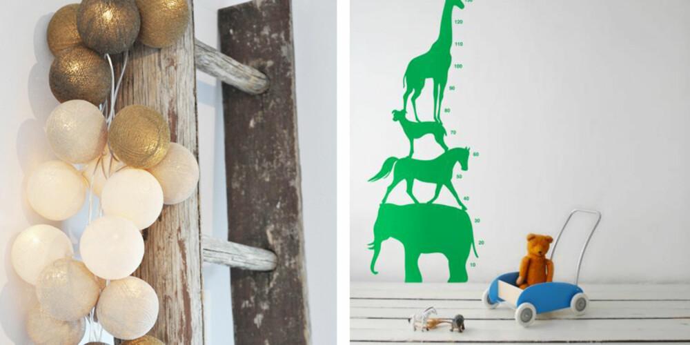 KULE PAKKER: Lys eller wallsticker fra nettbutikken Nord Design.