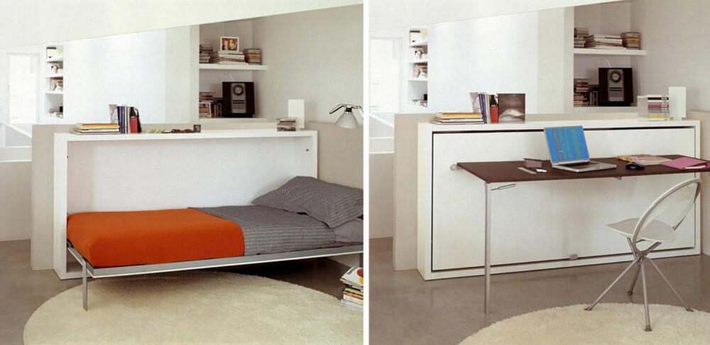 MULTIFUNKSJONELT: Fleksible møbler, møbler som enkelt kan endres, er et viktig stikkord. Det  skaper fleksibilitet. Denne sengen kan slås opp og ned. Og man kan lage en kontorplass med enkle grep. Møbelet er fra italienske Clei.