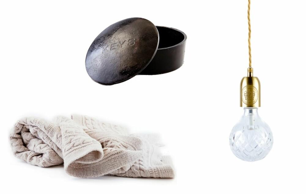 KLASSISK. Ullteppe, kr 1699, Bolina. Nøkkelboks, kr 235, Raun Conceptstore. Slipt glasslampe med messingdetaljer, kr 2199, Bolina.