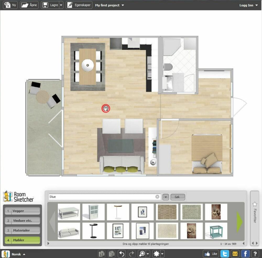 DRA OG SLIPP: Flytt rundt på møblene, eller prøv nye møbler. RoomSketcher er et norskutviklet online tegneverktøy som gjør det mulig å tegne drømmehjemmet ditt med bare et par klikk, enten du skal pusse opp eller flytte.