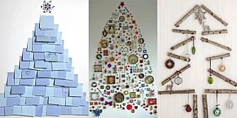 TRE PÅ VEGGEN: Om gulvplassen din ikke tåler et digert juletre kan julepynten henges på veggen. Her er juletrærne for deg med liten plass.