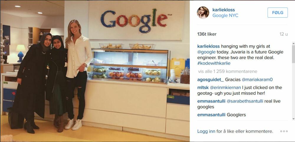 BESØKTE GOOGLE: Kloss ønsker å få enda flere jenter interesserte i teknologi gjennom stipendordninger og sommerleirer i hennes navn.