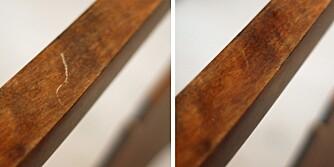 FØR OG ETTER: Ripen i treverket er knapt synlig etter å ha blitt gnidd med en valnøtt.