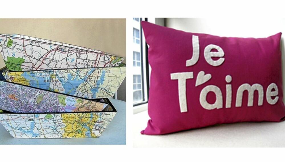 NOE FOR DEG? Kurver dekorert med kart og en håndlaget pute, begge fra Etsy.