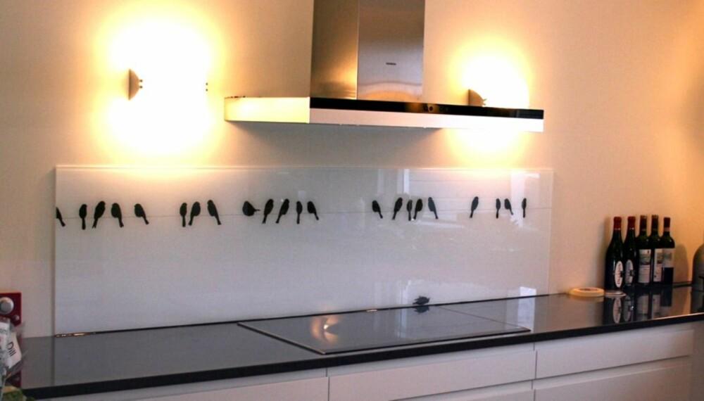 ALTERNATIV TIL FLISER: Glassplate med motiver over kjøkkenbenken.