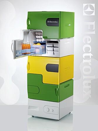 """LEGO-LIGNENDE: """"Flatshare"""" er et modulbasert kjøleskap i flere etasjer. køleskapet gikk til topps i Electrolux¿ globale designkonkurranse Design Lab 2008."""
