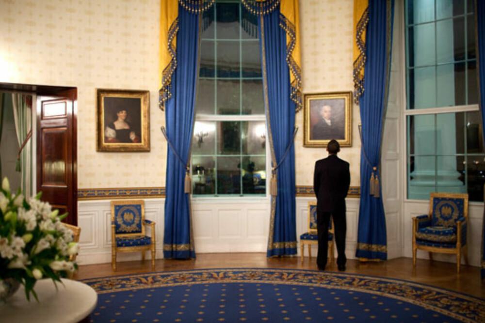 BLÅ: Det sies at både Michelle og Barack elsker fargen blå. Det vises på interiøret.