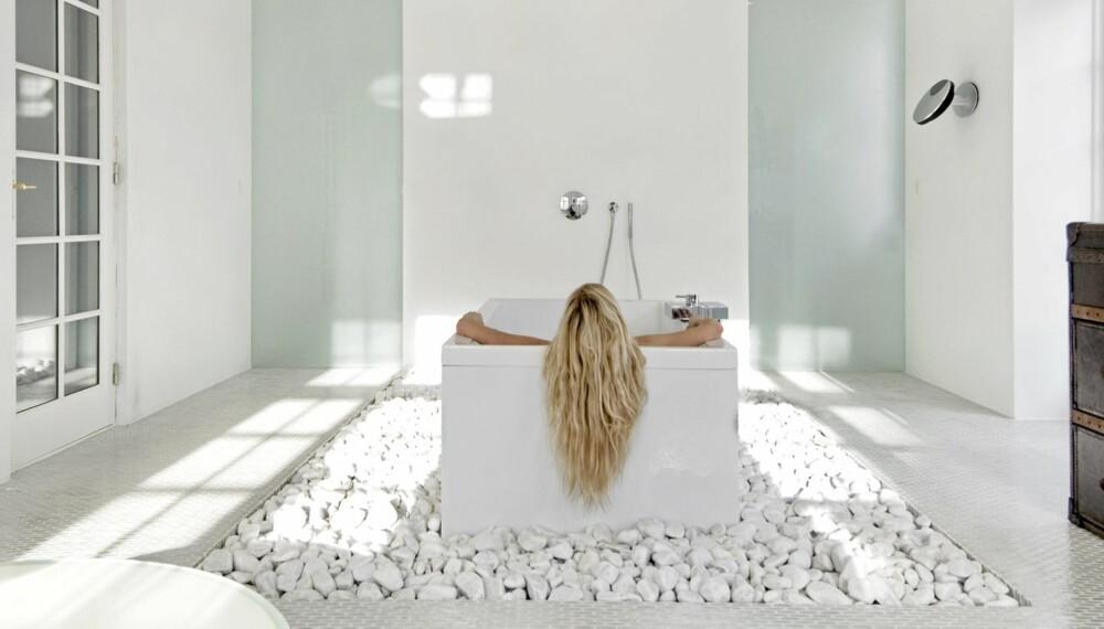 BADER I LUKSUS: Badekaret er sentralt plassert på gulvet i husets beste rom.