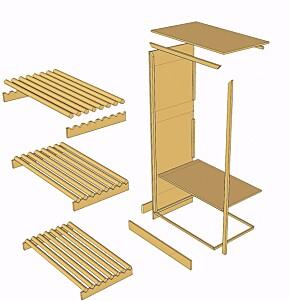 TØRKESKAP: Prinsippskisse av alle delen som monteres sammen.