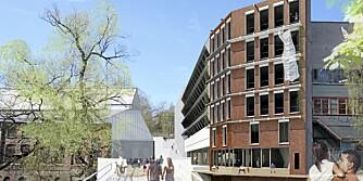 BELLONA-BYGGET: Arkitektenes tegninger viser Bellonas nye hovedkontor med idyllisk beliggenhet ved Akerselva.
