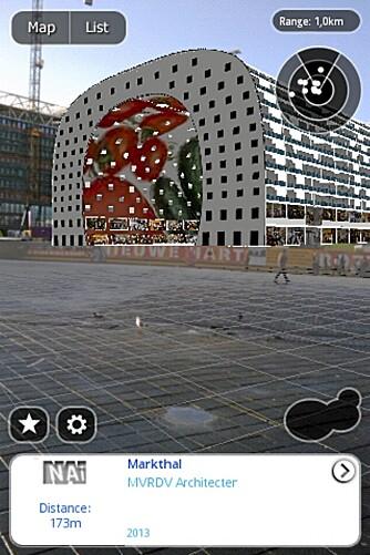 SARA: Slik ser skjermbildet på mobiltelefonen ut når du bruker AR-applikasjonen Sara på din arkitekturvandring i Nederlandske byer.