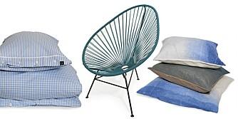 Sengesett i bomull: dynetrekk, kr 900, putetrekk, kr 280, Verket Interiør. Acapulco stol, kr 3700, Kvist. Håndlagde puter med batikkmønster, 40 x 40 cm, kr 899, og 60 x 60 cm, kr 999, Bolina.