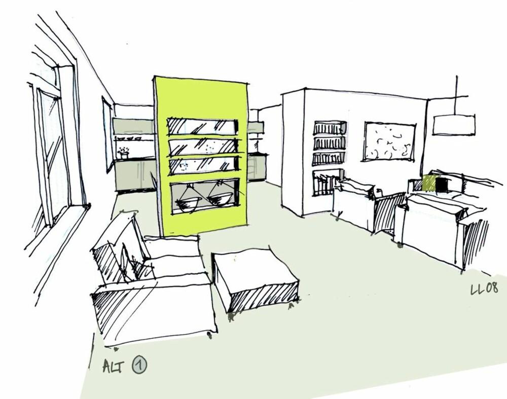 Alternativ 1: Åpent mellom rommene, men med en en romdelende hyllevegg og klar funksjonell deling mellom kjøkken og stue.