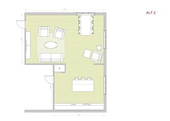 Alternativ 2: En halvvegg deler rommet i to soner. Kjøkkenøya skjermer kjøkkenet mot direkte innsyn.