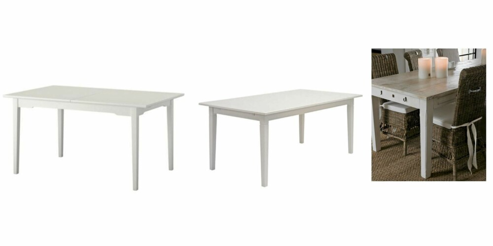 HVITT: Her er tre ulike hvite bord i ulik prisklasse. Fra venstre: Ikea kr 1295, Bohus kr 2999 og Riviera Maison kr 8849