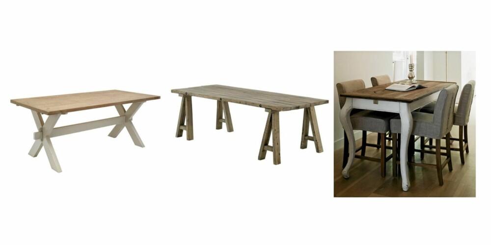 RUSTIKT: Bord i rustikk stil fra Bohus kr 3999, Living kr 5995, Riviera Maison kr 11234
