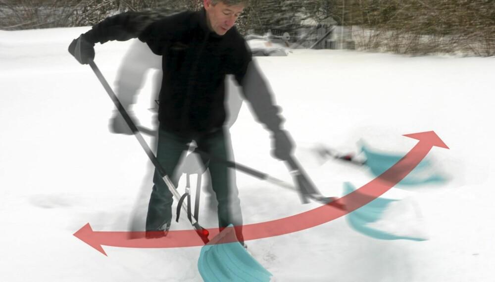 PENDEL: La spaden svinge frem og tilbake som en pendel. Ta litt snø av gangen slik at du ikke stopper opp. Finn en jevn rytme, bruk beina og roter hele kroppen.