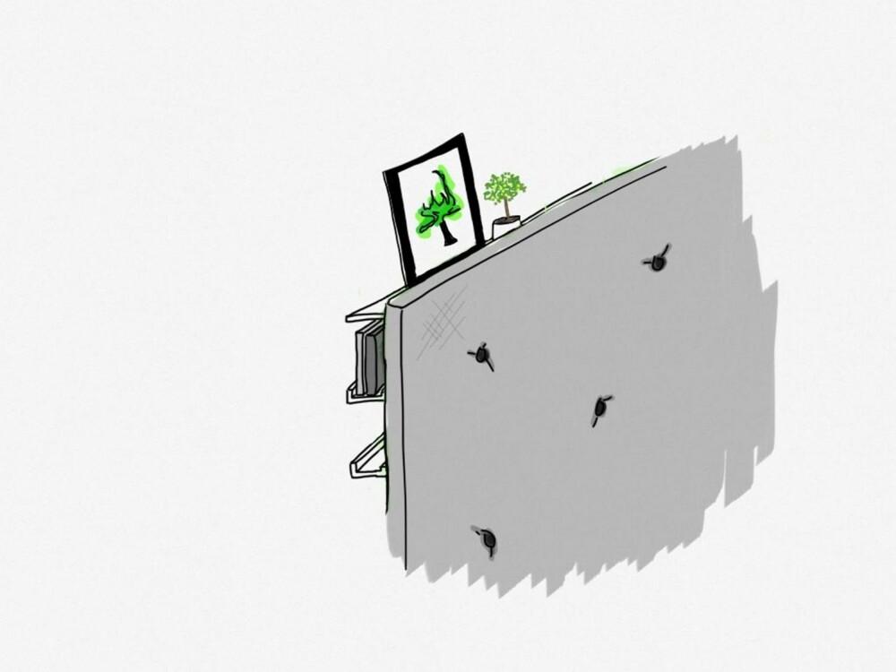 COMPACT LIVING: Slik kan smart oppbevaring bak hodegavlen se ut.