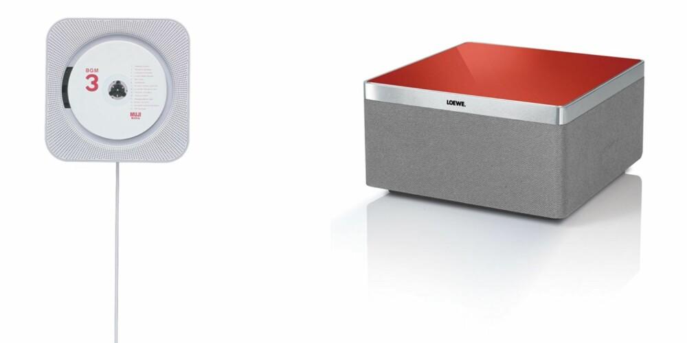 VENSTRE: For deg som ikke vil bruke tid på å legge inn alle de gamle Cd-ene dine digitalt, har Muji en minimalistisk, morsom liten cd-spiller til å henge på veggen. Denne passer flott på barnerommet - den er morsom for barn ettersom strømledningen også fungerer som av og på knapp. Muji CD-spille, kr 1500, Åhlens/Muji. HØYRE: Loewe AirSpeaker, kr 5790. Nok en stilren minimalistisk AirPlay-høyttaler, her fra tyske Loewe og i det høyere prissjiktet. Denne er enkel å plassere og kommer i fargene blå, grønn, rød, svrt eller stål.