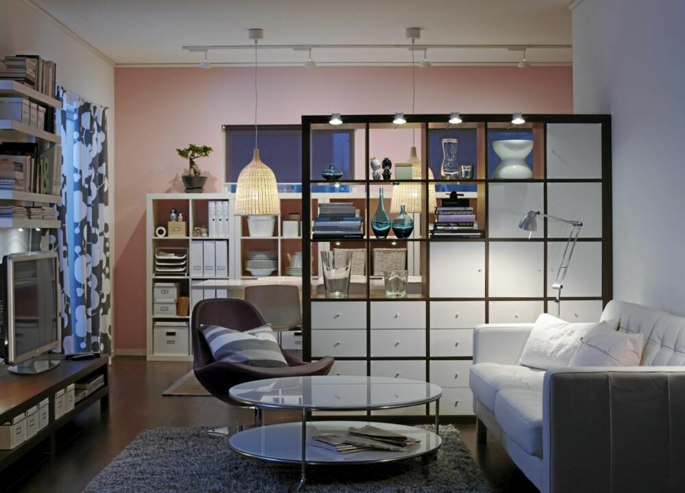 HENDIGE HYLLER: Expedit hyllene fra Ikea kommer i flere størrelser og interiørstylist Ingvild Hemma sitt Ikea tips.