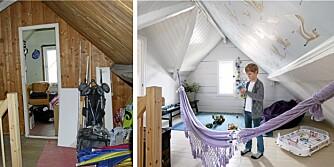 FØR OG ETTER: Loftet var mørkt og trangt; typisk for de gamle arbeiderklassehusene i Østre bydel i Stavanger.