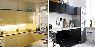 FØR OG ETETR: det gamle kjøkkenet ble fjernet og erstattet med en innredning fra Ikea. Kjøkkenet ble mer rommelig etter at vasken ble flyttet vekk fra vinduet, og kjøleskapet ble plassert i forlengelsen av kjøkkenbenken. Barstolen designet av Arne Jacobsen er kjøpt på lauritz.com.