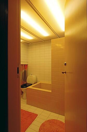 EKSTRA TAKHØYDE: Det lille badet har hevet tak slik at det stikker opp som en kube  i allrommet. For å gi økt romfølelse laget arkitekten en lysende himling - over det hele.
