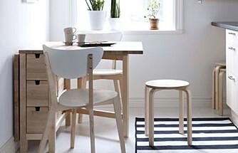 SMARTE MØBLER: På et lite kjøkken vil det kunne hjelpe med et bord som kan slås sammen.