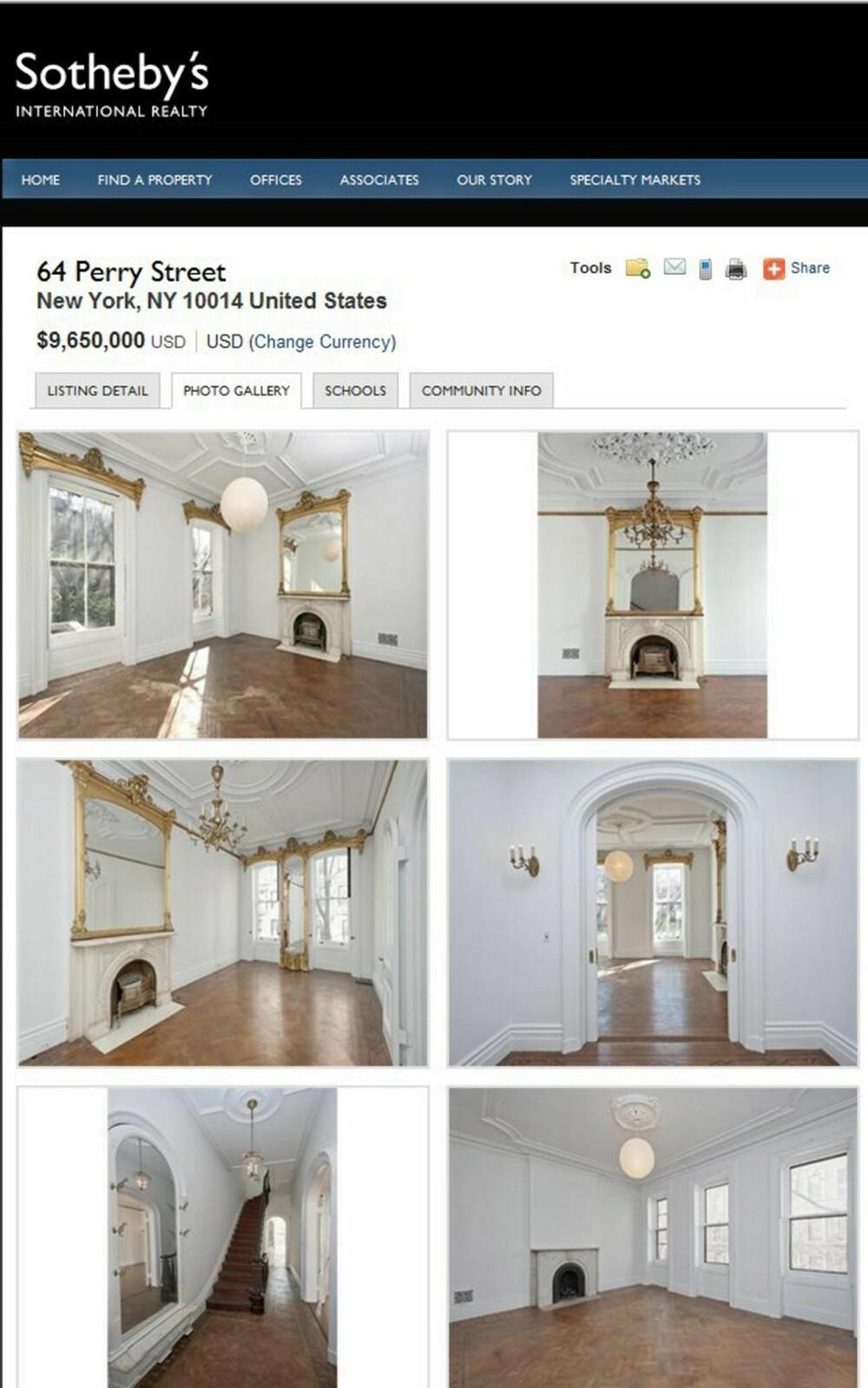 PROSPEKTET: Det er ikke disse rommene vi husker fra tv-serien Sex og singelliv. Men slik ser det egentlig ut i 64 Perry Street.