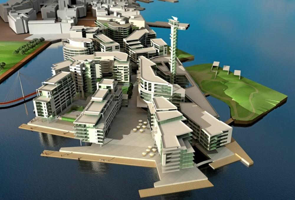 SE DET NÅ: Tjuvholmen i Oslo, slik det vil bli når det er ferdig i 2012. Allerede nå kan du se en av leilighetene.