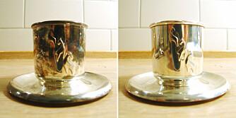 FØR OG ETTER: Samme kopp før og etter sølvpussen.