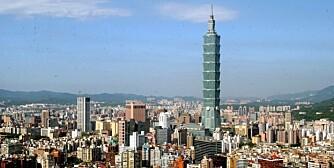 Taipei 101 Tårnet på Taiwan. Det rager over en halv kilometer opp i lufta.