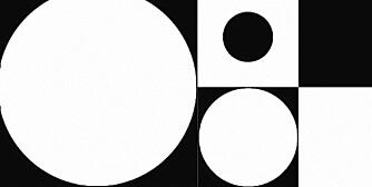 VINYL: Vinylgulv med grafisk mønster i svart-hvitt, kr 147 pr. kvadratmeter, Tarkett.