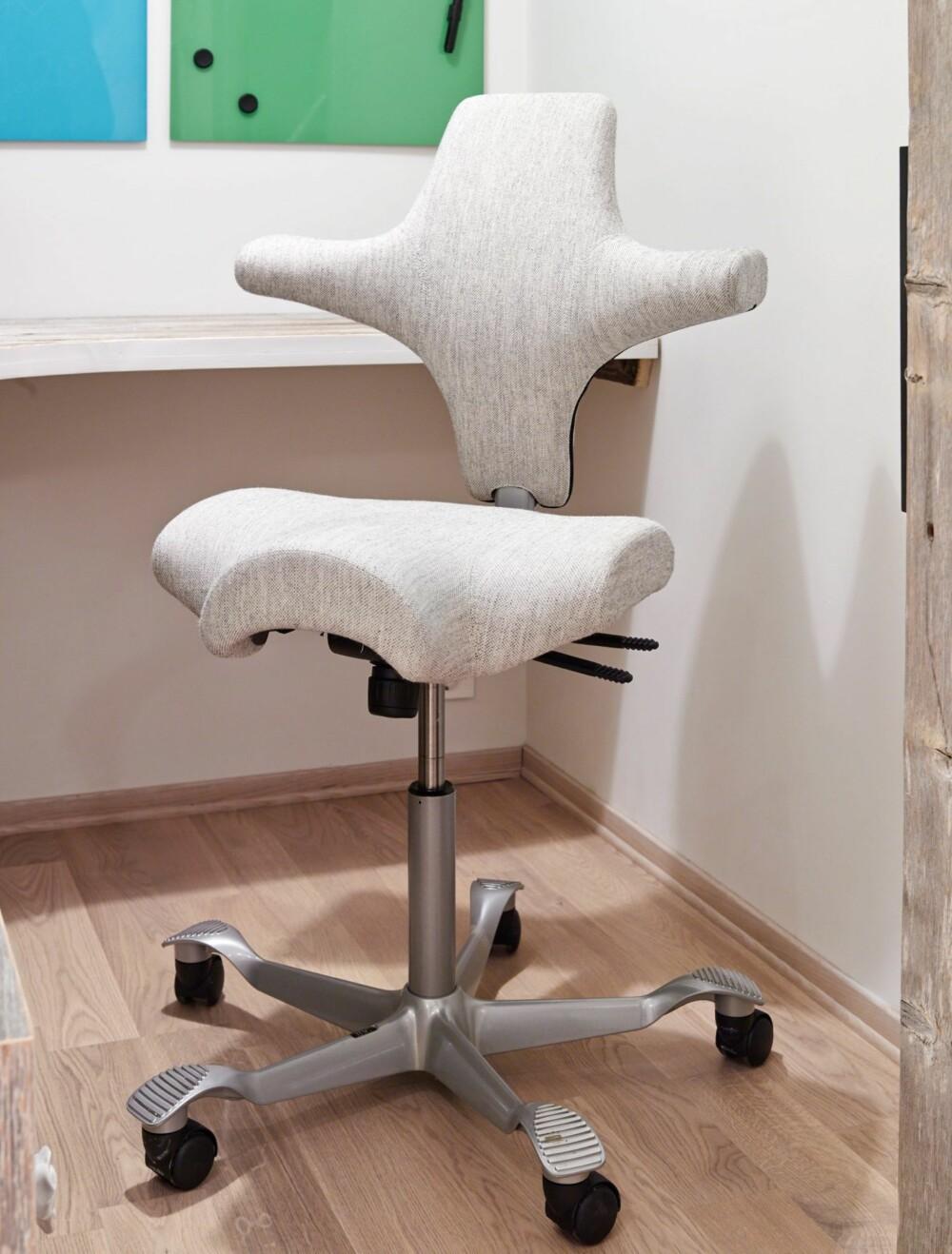 GJENNOMTENKT VALG: Paret var lenge på jakt etter den optimale stolen til arbeidsplassen. Stolen Capsico fra Håg oppfylte kriteriene.