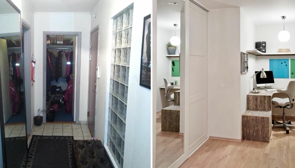 FØRBILDE TIL VENSTRE: Det gamle kleskottet måtte vike plass for en åpen og lys arbeidskrok, som sees på bildet til høyre.