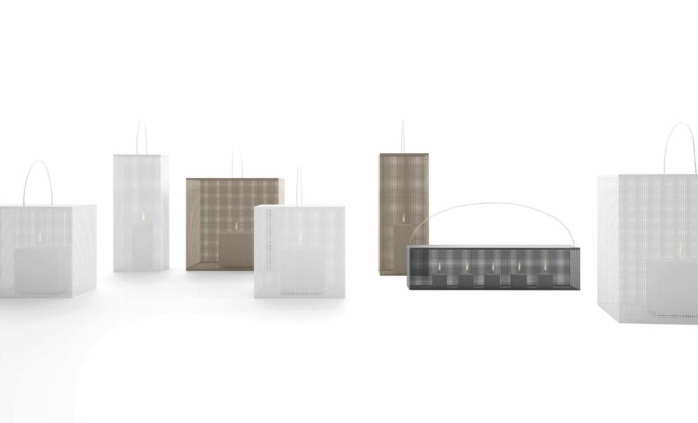 FINMASKET GITTER: Vokslysboksene Fez fra Gandia Blasco er laget i lakkert aluminium. Mønsteret er så tett at man bare aner flammen som lyser der inne. Fås i flere farger og størrelser, kr 5400 - 6960, roberttandberg.no.