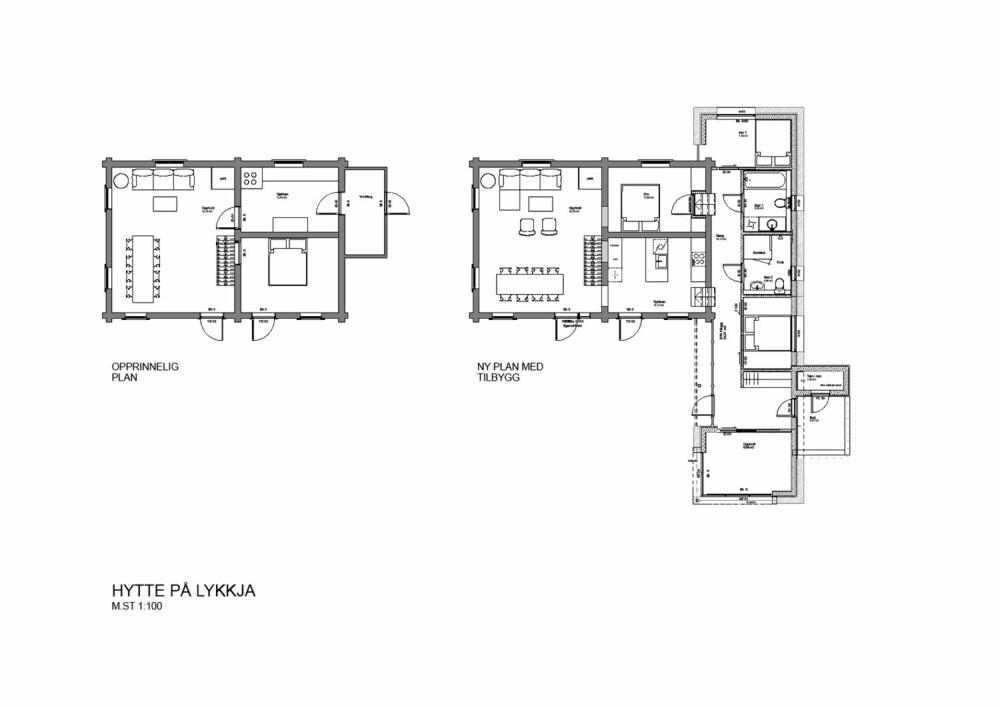 FØR OG ETTER: Plantegningen til venstre viser den laftede delen av hytta, før  tilbygg. Plantegningen til høyre viser den laftede hytta med tilbygg. Kjøkken og soverom byttet plass i den opprinnelige bygningen. Tilbygget er lagt som en avlang form, 90 grader mot hovedhuset