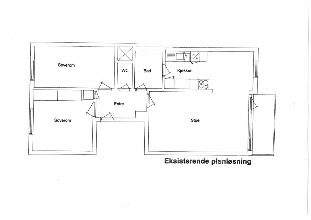 GAMMEL PLANLØSNING: Gangen var trang og mørk, og beboer manglet et rom. Kjøkkenet hadde inngang både fra stue og bad, ble derfor en slags gjennomgangssone.