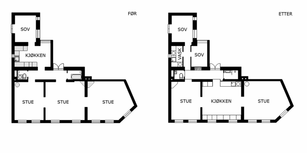 FLYTTET KJØKKENET: Arkitekten stokket om på rommene, og plasserte kjøkkenet mer sentralt i leiligheten.