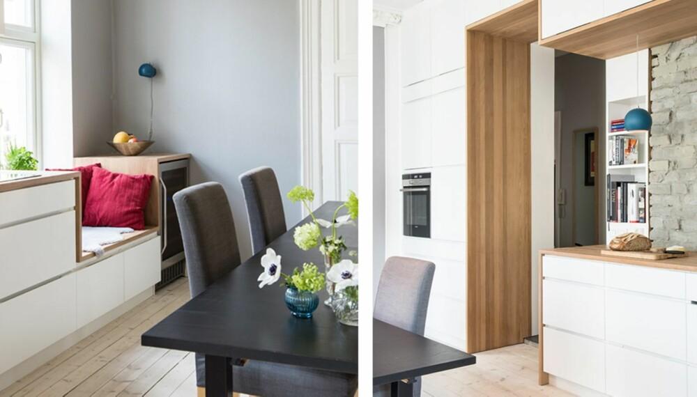 KLEDD MED EIK. Kjøkkeninnredningen fra Kvik er kledd med benkeplate både over, under og på siden.