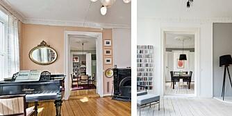 FØR OG ETTER: Arkitekten har beholdt planløsningen men satt inn kjøkken i den midterste av de tre stuene.