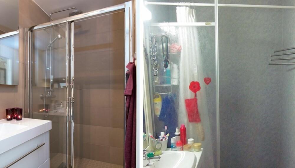 STOR ENDRING: Badet til høyre er blitt til badet til venstre for under 100 000 kroner.