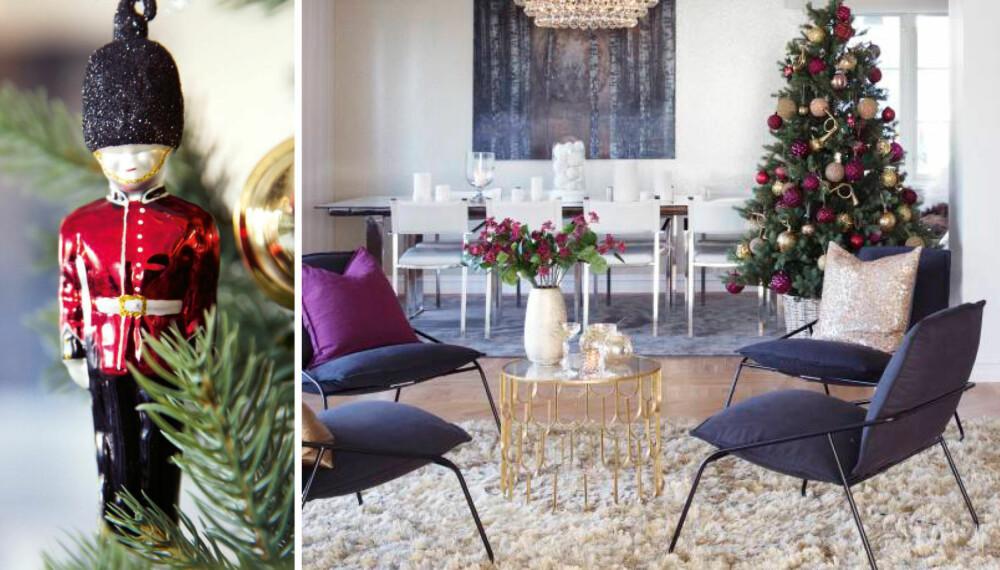 Luksusbohem. En miks av materialer og farger gir hjemmet et variert og innbydende preg. Thea Steffenrud omtaler stilen deres som luksusbohem. Noen røde detaljer sniker seg inn i familiens hjem i julen. Tinnsoldaten er fra Shishi. Styling: Tone Kroken.