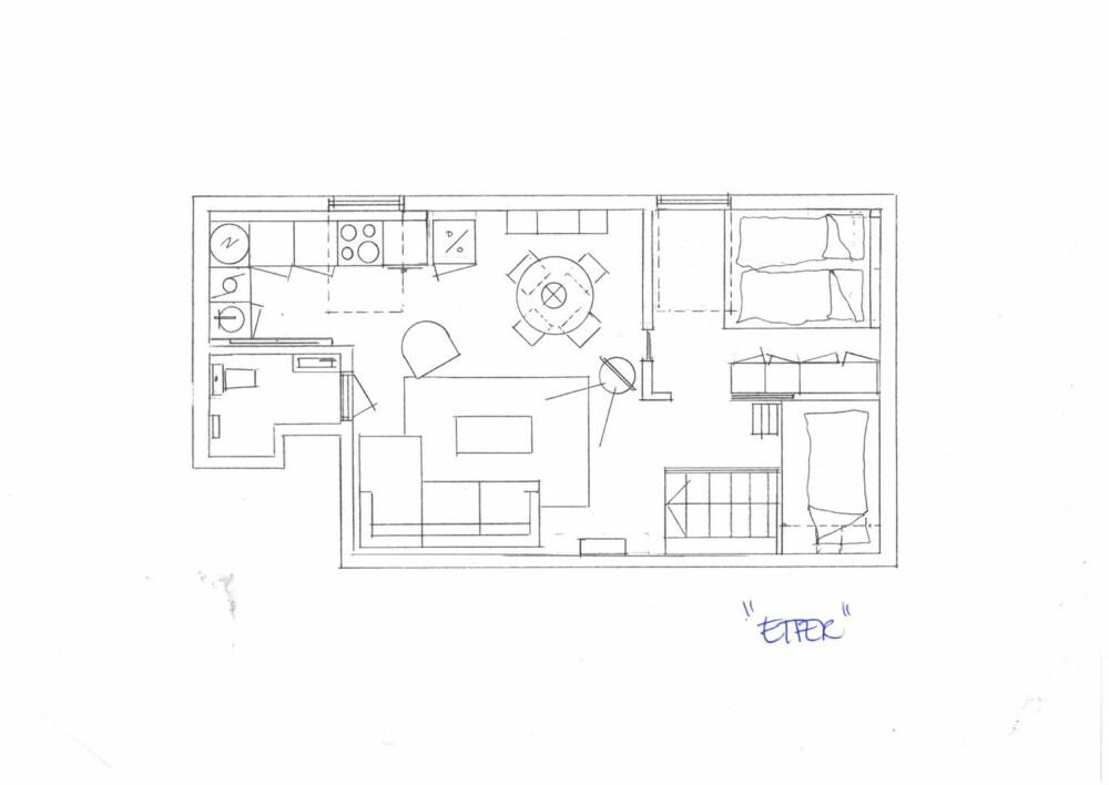 ETTER: Slik er den nye planløsningen. Det nye soverommet lengst til høyre har fått et glassfelt på veggen som vender inn mot spisekroken for å skape bedre flyt i lysgjennomstrømmingen. Døren inn til soverommet er nå en skyvedør i glass, vendt mot hemsen.