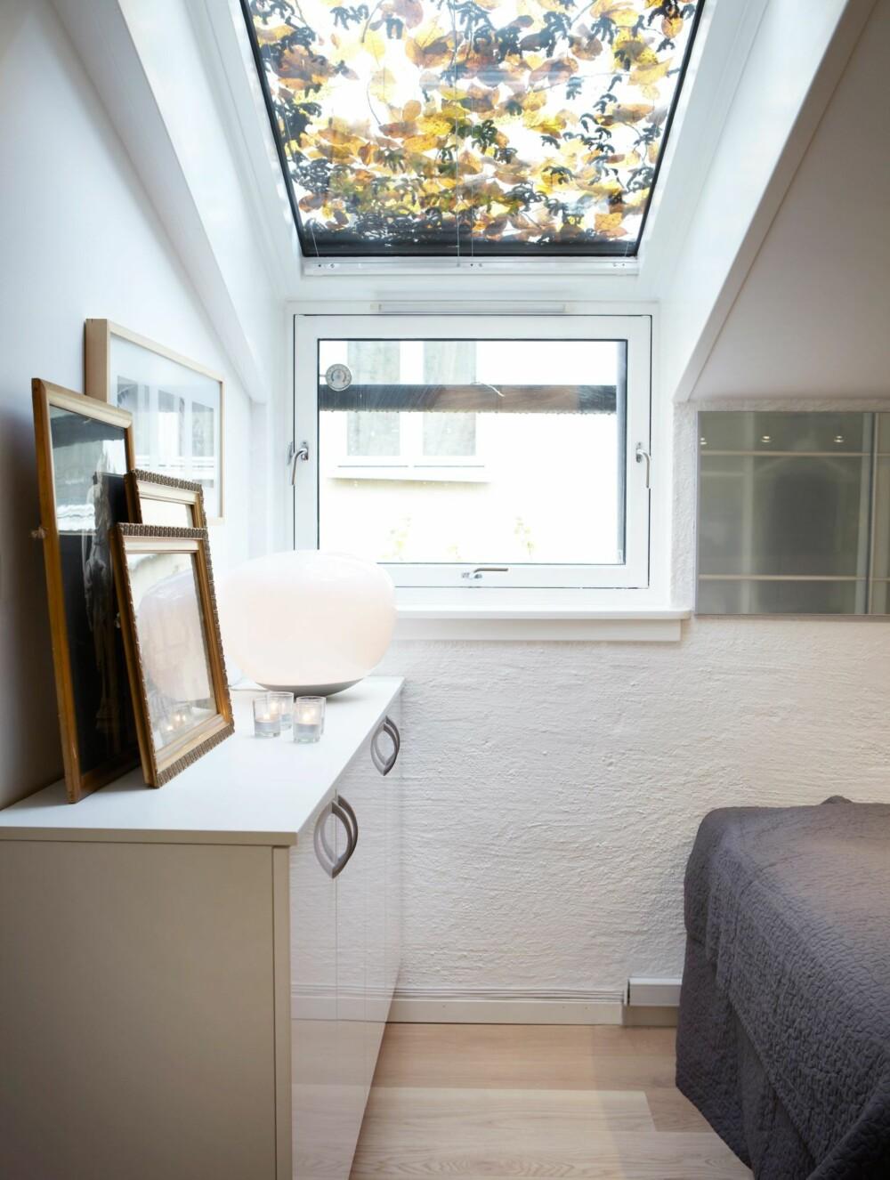 HØYT OPPE: Vinduene på soverommet er den ene av to dagslyskilder i leiligheten. Også her er det blitt plass til en garderobeskapsdør på veggen. Skapene er 40 cm dype kjøkkenoverskap. Bildene er kjøpt på bruktmarkedet på Vestkanttorget i Oslo og gjør rommet hjemmekoselig.