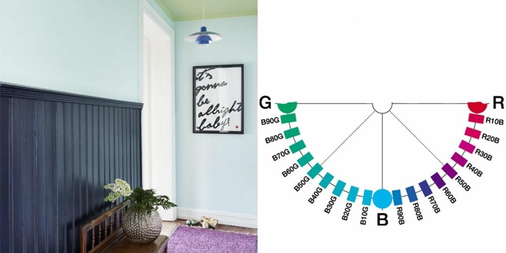 VÅG Å BRYTE REGLENE: Trebenken er ikke fra samme del av fargehalvsirkelen som vegger, tak og teppe. Se hvor fint den varme brunfargen spiller opp mot de kjølige fargene rundt. Fargekodene er Fargerikes egne, brystpanelet er i Iris FR1313, veggen ellers i Valmuesøster FR1101. Taket er i Marikåpe FR1321.