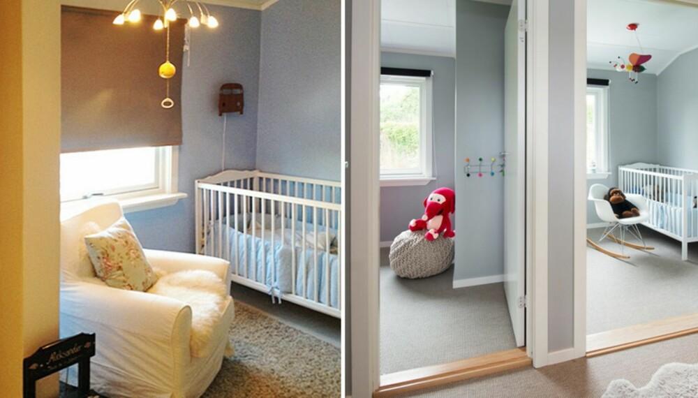 IKKE DØR: Før-bildet til venstre. Det eksisterende barnerommet manglet dør, man gikk gjennom garderoben for å komme ut i gangen. Nå har familien to barnerom med separate dører.