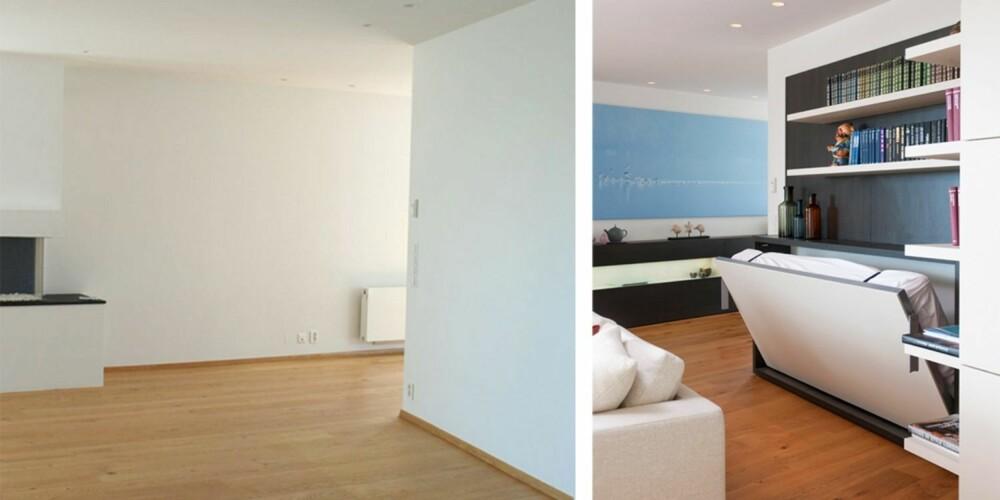 FØR OG ETTER: Den nakne leiligheten er innredet med farger og spesialtilpassede, fleksible løsninger.